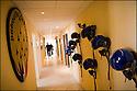 -2008- Salon de Provence- Locaux de laPatrouille de France sur la base 701. Les pilotes accroche leur casque au mur du couloir.