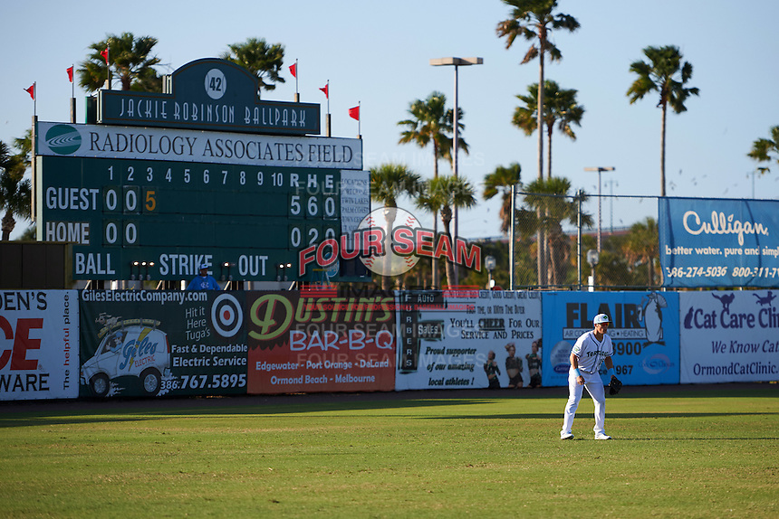 Daytona Tortugas left fielder Jeff Gelalich (15) in front of the scoreboard during a game against the Fort Myers Miracle on April 17, 2016 at Jackie Robinson Ballpark in Daytona, Florida.  Fort Myers defeated Daytona 9-0.  (Mike Janes/Four Seam Images)