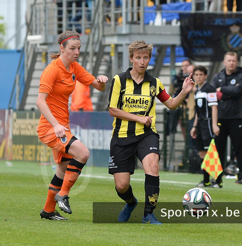 Bekerfinale vrouwen 2015 : Lierse-Club Brugge Vrouwen <br /> <br /> Nicky Van den Abbeele (L) en Niki Decock (R) strijden om de bal<br /> <br /> foto VDB / BART VANDENBROUCKE