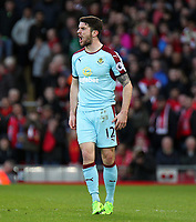 Burnley's Robbie Brady reacts<br /> <br /> Photographer Rich Linley/CameraSport<br /> <br /> The Premier League - Liverpool v Burnley - Sunday 12 March 2017 - Anfield - Liverpool<br /> <br /> World Copyright &copy; 2017 CameraSport. All rights reserved. 43 Linden Ave. Countesthorpe. Leicester. England. LE8 5PG - Tel: +44 (0) 116 277 4147 - admin@camerasport.com - www.camerasport.com
