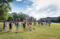 Orientation 2018:  ice breaker games for groups of incoming students, led by Orientation Leaders on the Drill Field.<br />  (photo by Megan Bean / &copy; Mississippi State University)