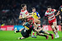 James Hook of Gloucester Rugby is tackled. Aviva Premiership match, between Harlequins and Gloucester Rugby on December 27, 2016 at Twickenham Stadium in London, England. Photo by: Patrick Khachfe / JMP