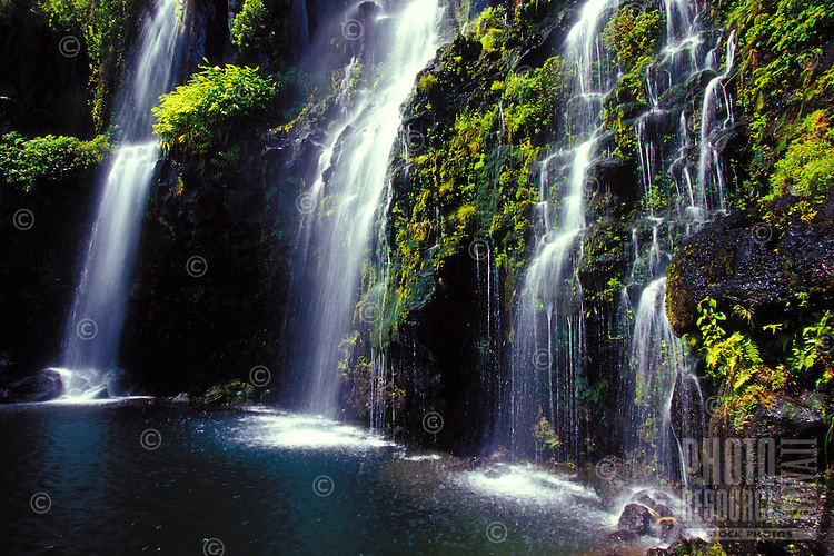 Several waterfalls feed into a Hana, Maui pool.