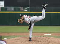 May 16, 2004:  Pitcher Jorge De La Rosa of the Indianapolis Indians, Triple-A International League affiliate of the Milwaukee Brewers, during a game at Frontier Field in Rochester, NY.  Photo by:  Mike Janes/Four Seam Images