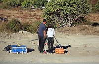 Pictured: Forensic archaeologists work at the second site in Kos, Greece. Saturday 15 October 2016<br />