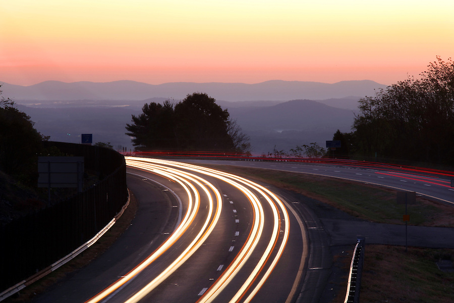 Traffic on I-64 with the blue ridge mountains.