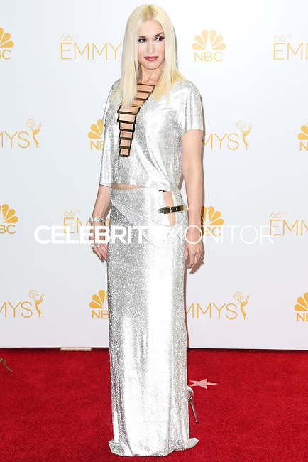 LOS ANGELES, CA, USA - AUGUST 25: Singer Gwen Stefani poses in the press room at the 66th Annual Primetime Emmy Awards held at Nokia Theatre L.A. Live on August 25, 2014 in Los Angeles, California, United States. (Photo by Celebrity Monitor)