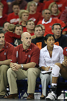 16 December 2006: Stanford Cardinal strength & conditioning coach Juan Pablo Reggiardo and director of women's volleyball operations Cobey Shoji during Stanford's 30-27, 26-30, 28-30, 27-30 loss against the Nebraska Huskers in the 2006 NCAA Division I Women's Volleyball Final Four Championship match at the Qwest Center in Omaha, NE.