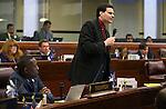 Nevada Assemblyman David Gardner, R-Las Vegas, speaks on the Assembly floor at the Legislative Building in Carson City, Nev., on Wednesday, April 1, 2015. <br /> Photo by Cathleen Allison