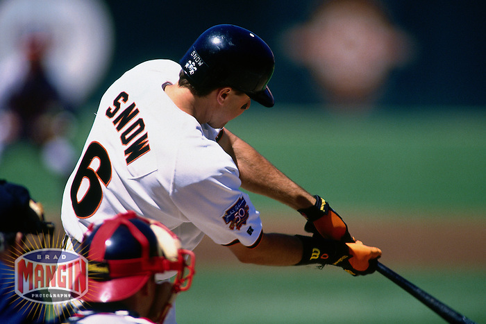 SAN FRANCISCO, CA - J.T. Snow of the San Francisco Giants bats during a game on April 23, 1997 at Candlestick Park in San Francisco, California. (Photo by Brad Mangin)