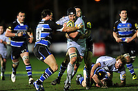Ben Pienaar of Leicester Tigers forces his way through Matt Carraro of Bath Rugby during the LV= Cup semi final match between Bath Rugby and Leicester Tigers at The Recreation Ground, Bath (Photo by Rob Munro, Fotosports International)