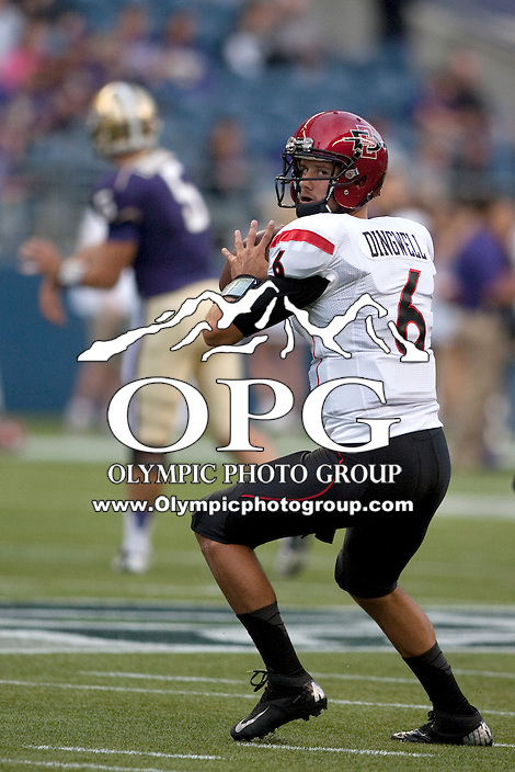 Sept 01, 2012:  San Diego State's Adam Dingwell warms up before the game against Washington.  Washington defeated San Diego State 21-12 at CenturyLink Field in Seattle, Washington...