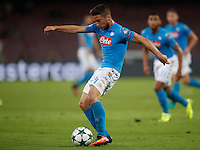 Calcio, Champions League: Napoli vs Benfica. Napoli, stadio San Paolo, 28 settembre 2016.<br /> Napoli's Dries Mertens kicks the ball during the Champions League Group B soccer match between Napoli and Benfica at Naple's San Paolo stadium, 28 September 2016. Napoli won 4-2.<br /> UPDATE IMAGES PRESS/Isabella Bonotto