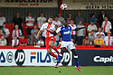 Jon Ashton of Stevenage and Frank Nouble of Ipswich challenge for a header<br />  Stevenage v Ipswich Town - Capital One Cup First Round - Lamex Stadium, Stevenage - 6th August, 2013<br />  © Kevin Coleman 2013