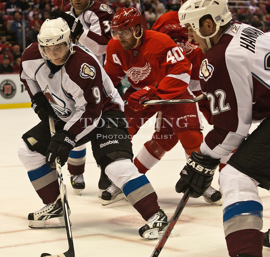 12 October 2010: Colorado Avalanche forward Matt Duchene (9) leads Detroit Red Wings forward Henrik Zetterberg (40) and teammate Scott Hannan (22), in the second period of the Colorado Avalanche at Detroit Red Wings NHL hockey game, at Joe Louis Arena, in Detroit, MI...***** Editorial Use Only *****