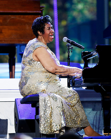 Herbie Hancock (unseen) and Aretha Franklin play at the International Jazz Day Concert on the South Lawn of the White House, in Washington, DC, April 29, 2016. United States President Barack Obama delivered remarks to introduce the event. <br /> Credit: Aude Guerrucci / Pool via CNP/MediaPunch