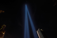 NEW YORK, NY - SEPTEMBER 11,2016: A 'Tribute in Light' shined once again as a memorial to the victims in the terror attacks during the 15th anniversary of the 9/11 attacks on September 11, 2016 in New York. Photo by (VIEWpress/Maite H. Mateo)