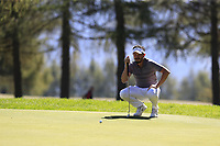 Mike Lorenzo-Vera (FRA) on the 5th green during Saturday's Round 3 of the 2018 Omega European Masters, held at the Golf Club Crans-Sur-Sierre, Crans Montana, Switzerland. 8th September 2018.<br /> Picture: Eoin Clarke | Golffile<br /> <br /> <br /> All photos usage must carry mandatory copyright credit (&copy; Golffile | Eoin Clarke)