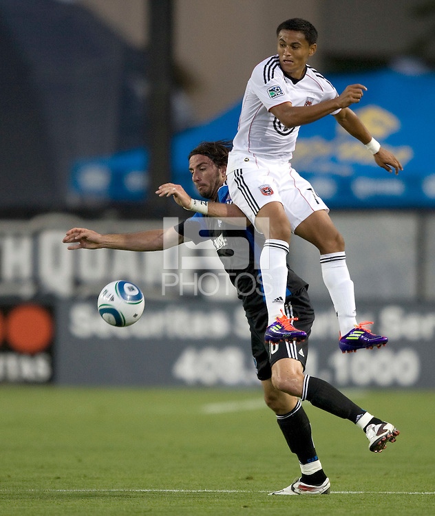 Alan Gordon of Earthquakes battles for the ball in the air against Andy Najar of DC United during the game at Buck Shaw Stadium in Santa Clara, California on July 30th, 2011.   DC United defeated San Jose Earthquakes, 2-0.