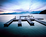 USA, Idaho, landscape of a boat dock in the early morning at Priest Lake