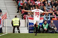 7th March 2020; Wanda Metropolitano Stadium, Madrid, Spain; La Liga Football, Atletico de Madrid versus Sevilla; Luuk de Jong (Sevilla FC)  celebrates his goal which made it (0,1)