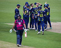 Durham players celebrate the dismissal of Northants Steelbacks' Rory Kleinveldt <br /> <br /> Photographer Andrew Kearns/CameraSport<br /> <br /> Royal London One Day Cup - Northamptonshire v Durham - Sunday 27th May 2018 - The County Ground, Northampton<br /> <br /> World Copyright &copy; 2018 CameraSport. All rights reserved. 43 Linden Ave. Countesthorpe. Leicester. England. LE8 5PG - Tel: +44 (0) 116 277 4147 - admin@camerasport.com - www.camerasport.com