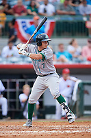 Daytona Tortugas shortstop Luis Gonzalez (7) at bat during a game against the Florida Fire Frogs on April 7, 2018 at Osceola County Stadium in Kissimmee, Florida.  Daytona defeated Florida 4-3 in a six inning rain shortened game.  (Mike Janes/Four Seam Images)