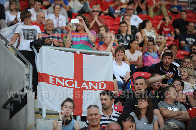 The England supporters. The UEFA Womens U19 Championships at Parc y Scarlets, Monday 19th August 2013. All images are the copyright of Jeff Thomas Photography-www.jaypics.photoshelter.com-07837 386244-Any use of images must be authorised by the copyright owner.