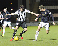 Calum Gallagher takes on Aaaron Muirhead in the St Mirren v Falkirk Scottish Professional Football League Ladbrokes Championship match played at the Paisley 2021 Stadium, Paisley on 1.3.16.