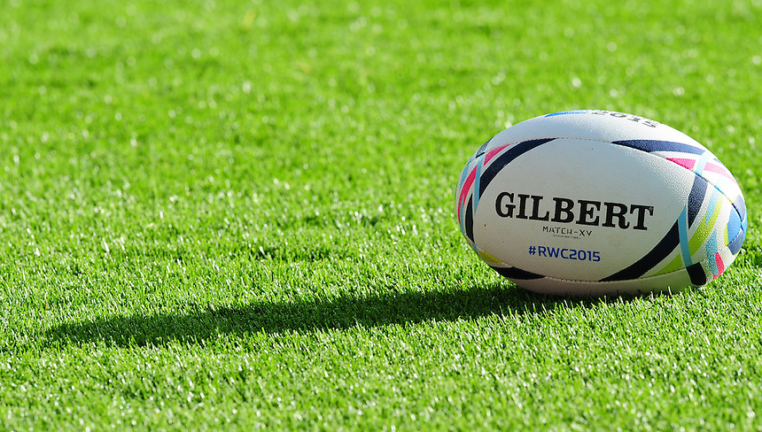 A close up of a Gilbert Rugby World Cup 2015 match ball<br /> <br /> Photographer Chris Vaughan/CameraSport<br /> <br /> Rugby Union - 2015 Rugby World Cup Pool D - Canada v Romania - Tuesday 6th October 2015 - King Power Stadium, Leicester <br /> <br /> &copy; CameraSport - 43 Linden Ave. Countesthorpe. Leicester. England. LE8 5PG - Tel: +44 (0) 116 277 4147 - admin@camerasport.com - www.camerasport.com