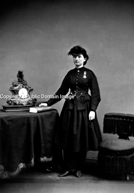 Dr. Mary Walker.  Wearing Medal of Honor.  Ca.  1866.  Mathew Brady Collection.  (Army)<br /> Exact Date Shot Unknown<br /> NARA FILE #:  111-B-2112<br /> WAR & CONFLICT BOOK #:  216