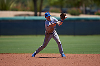 AZL Royals shortstop Bobby Witt Jr. (17) throws to second base during an Arizona League game against the AZL Dodgers Lasorda on July 4, 2019 at Camelback Ranch in Glendale, Arizona. The AZL Royals defeated the AZL Dodgers Lasorda 4-1. (Zachary Lucy/Four Seam Images)