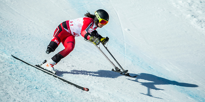 PyeongChang 13/3/2018 - Braydon Luscombe skis in the super-G portion of the super combined at the Jeongseon Alpine Centre during the 2018 Winter Paralympic Games in Pyeongchang, Korea. Photo: Dave Holland/Canadian Paralympic Committee