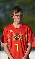 20180417 - TUBIZE , BELGIUM : Belgian Nils De Wilde pictured during the friendly  soccer match between  under 15 teams of  Belgium and Switzerland , in Tubize , Belgium . Tuesday 17 th April 2018 . PHOTO SPORTPIX.BE / DIRK VUYLSTEKE