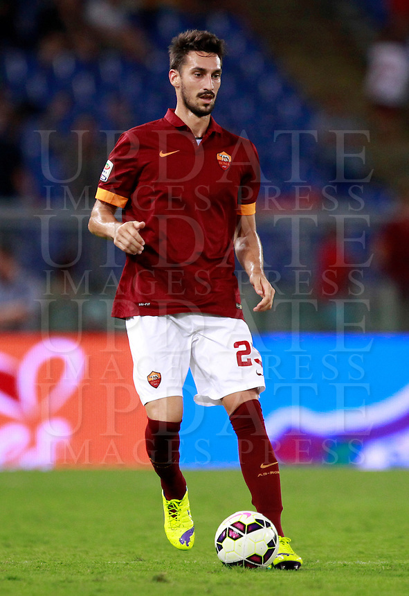 Calcio, amichevole Roma vs Fenerbahce. Roma, stadio Olimpico, 19 agosto 2014.<br /> Roma defender Davide Astori in action during the friendly match between AS Roma and Fenerbahce at Rome's Olympic stadium, 19 August 2014.<br /> UPDATE IMAGES PRESS/Isabella Bonotto