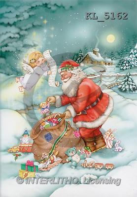 Interlitho, Michele, CHRISTMAS SANTA, SNOWMAN, paintings, santa, bag, angel(KL5162,#X#) Weihnachtsmänner, Schneemänner, Weihnachen, Papá Noel, muñecos de nieve, Navidad, illustrations, pinturas