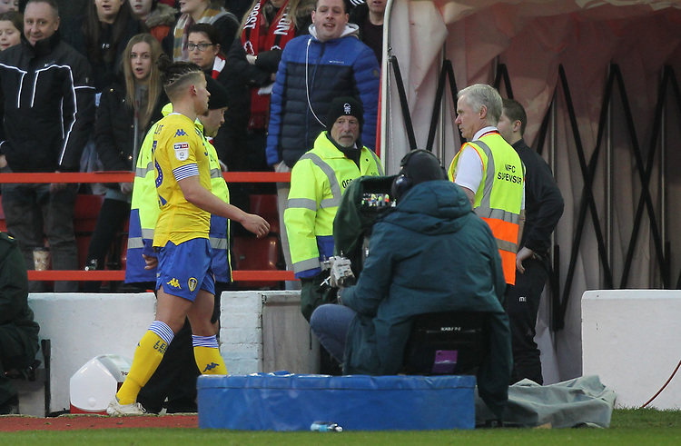 Leeds United's Kalvin Phillips leaves the pitch after being red carded<br /> <br /> Photographer Mick Walker/CameraSport<br /> <br /> The EFL Sky Bet Championship - Nottingham Forest v Leeds United - Tuesday 1st January 2019 - The City Ground - Nottingham<br /> <br /> World Copyright © 2019 CameraSport. All rights reserved. 43 Linden Ave. Countesthorpe. Leicester. England. LE8 5PG - Tel: +44 (0) 116 277 4147 - admin@camerasport.com - www.camerasport.com