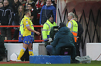 Leeds United's Kalvin Phillips leaves the pitch after being red carded<br /> <br /> Photographer Mick Walker/CameraSport<br /> <br /> The EFL Sky Bet Championship - Nottingham Forest v Leeds United - Tuesday 1st January 2019 - The City Ground - Nottingham<br /> <br /> World Copyright &copy; 2019 CameraSport. All rights reserved. 43 Linden Ave. Countesthorpe. Leicester. England. LE8 5PG - Tel: +44 (0) 116 277 4147 - admin@camerasport.com - www.camerasport.com