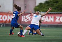 Seattle, WA - Saturday July 15, 2017: Rumi Utsugi, Adriana Leon during a regular season National Women's Soccer League (NWSL) match between the Seattle Reign FC and the Boston Breakers at Memorial Stadium.