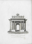 Nineteenth century engraving from 1827, Entrance to the Kings Palace, Hyde Park Corner, London, England, UK drawn by Thomas Shepherd