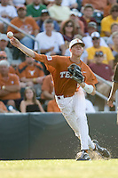 Texas Longhorns third baseman Erich Weiss #6 throws the ball to first against the Arizona State Sun Devls in NCAA Tournament Super Regional baseball on June 10, 2011 at Disch Falk Field in Austin, Texas. (Photo by Andrew Woolley / Four Seam Images)