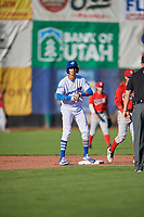 Brayan Morales (8) of the Ogden Raptors during the game against the Orem Owlz in Pioneer League action at Lindquist Field on June 27, 2017 in Ogden, Utah. Ogden defeated Orem 14-5. (Stephen Smith/Four Seam Images)