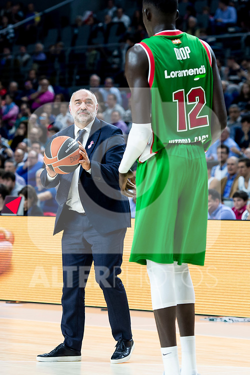 Real Madrid coach Pablo Laso and Kirolbet Baskonia Ilimane Diop during Turkish Airlines Euroleague match between Real Madrid and Kirolbet Baskonia at Wizink Center in Madrid, Spain. October 19, 2018. (ALTERPHOTOS/Borja B.Hojas)