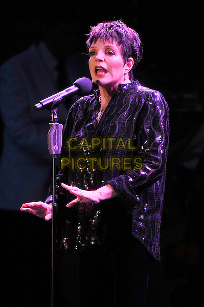 Liza Minnelli performing live in concert, Hampton Court, London, England. .14th June 2012.on stage in concert live gig performance performing music half length black shirt sequins sequined singing  hands arms .CAP/MAR.© Martin Harris/Capital Pictures.