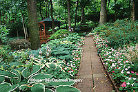 65021-032.13 Shade garden with brick path, hostas, impatiens, and gazebo, St Louis  MO