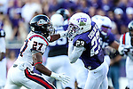 TCU Horned Frogs running back B.J. Catalon (23) in action during the game between the Samford Bulldogs and the TCU Horned Frogs at the Amon G. Carter Stadium in Fort Worth, Texas.  TCU leads Stamford 24 to 7 at halftime.