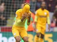 Preston North End's Callum Robinson reacts  to loosing<br /> <br /> Photographer Mick Walker/CameraSport<br /> <br /> The EFL Sky Bet Championship - Sheffield United v Preston North End - Saturday 22 September 2018 - Bramall Lane - Sheffield<br /> <br /> World Copyright &copy; 2018 CameraSport. All rights reserved. 43 Linden Ave. Countesthorpe. Leicester. England. LE8 5PG - Tel: +44 (0) 116 277 4147 - admin@camerasport.com - www.camerasport.com