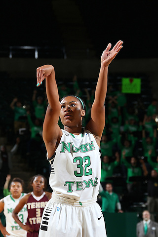 Denton, TX - NOVEMBER 12: Desiree Nelson #32 of the University of North Texas Mean Green shoots a free throw against Texas State Bobcats at the Super Pit in Denton on November 12, 2012 in Denton, Texas. (Photo by Rick Yeatts)