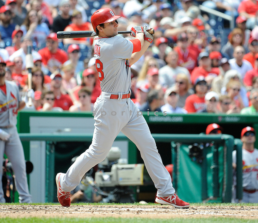 St. Louis Cardinals Pete Kozma (38) during a game against the Washington Nationals on April 24, 2013 at Nationals Park in Washington DC. The Cardinals beat the Nationals 4-2.