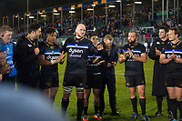 Matt Garvey of Bath Rugby speaks to his team-mates in a post-match huddle. European Rugby Champions Cup match, between Bath Rugby and RC Toulon on December 16, 2017 at the Recreation Ground in Bath, England. Photo by: Patrick Khachfe / Onside Images